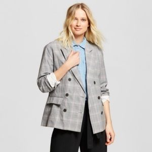 Who What Wear Plaid Roll-Up Cuff Poplin Blazer